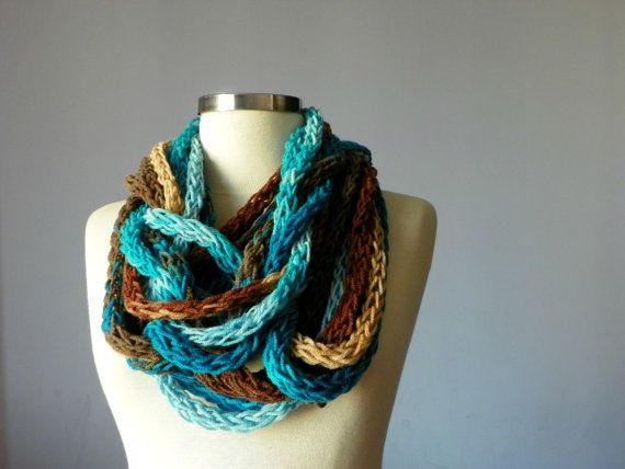 Knitted infinity chain scarf necklace blue brown by yarnisland, $35.00