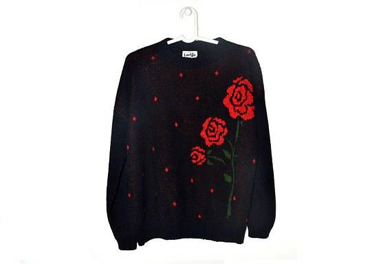 Vintage Red Rose Sweater Black Floral Pullover Womens 90s