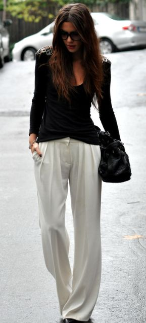 I have a new found love for white slacks. This looks comfy and elegant, two wonderful combinations!