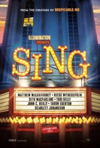 Sing -  In a city of humanoid animals a hustling theater impresario's attempt to save his theater with a singing competition becomes grander than he anticipates even as its finalists' find that their lives will never be the same.  Genre: Animation Comedy Family Actors: Matthew McConaughey Reese Witherspoon Scarlett Johansson Seth MacFarlane Year: 2016 Runtime: 108 min IMDB Rating: 7.2 Director: Christophe Lourdelet Garth Jennings  Sing movie - post source here: InsideHollywoodFilms