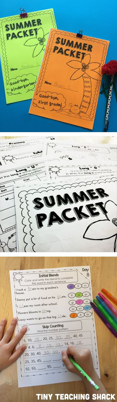 first grade and kindergarten summer packets packed with literacy and math activities that target most of the Common Core Standards