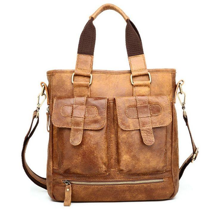 102.38$  Buy here - http://alilic.worldwells.pw/go.php?t=32794955281 - Genuine Leather Men Bag Vintage Totes Handbags Men Messenger Bags Briefcase Men's Travel Bags Shoulder Bag 102.38$