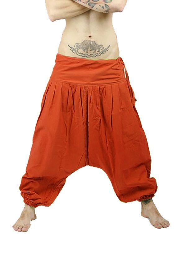 Rust Orange Harem Pants - Aladdin Pants - Harem Trousers - Yoga Pants - Cotton Afghani Pants - Alibaba Pants - Hammered - Men - Woman