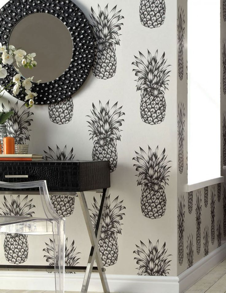 $35.68 Price per roll (per m2 $6.69), Funky wallpaper, Carrier material: Paper-based wallpaper, Surface: Smooth, Look: Matt, Design: Pineapple, Basic colour: Grey white, Pattern colour: Black grey, Characteristics: Lightfast, Wet removable, Paste the wallpaper, Water-resistant