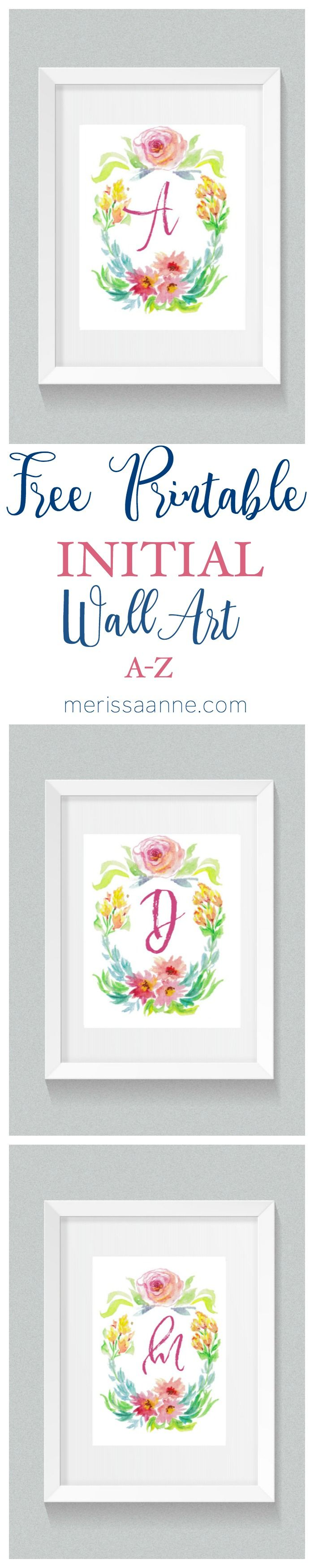 Free printable initial wall art or iphone wallpaper! Watercolor florals. A-Z. http://www.merissaanne.com/2016/11/11/free-printable-initial-wall-art/