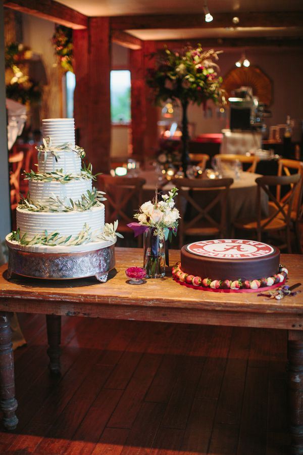 wedding cake with olive branches and an Alabama groom's cake | Sara & Rocky #wedding