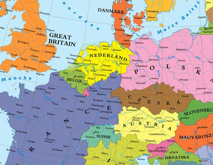 a map of europe without germany