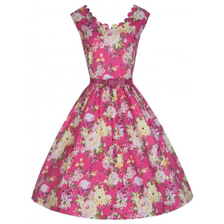 Šaty Lindy Bop Daria Pink Floral Retro šaty ve stylu 50. let. Nádherné šaty v letním květinovém potisku vhodné na svatební či zahradní slavnost nebo slunečné letní dny. Zajímavě řešený výstřih, mírný výstřih i v zadní části, doplněné úzkým růžovým páskem, krásně padnou, strečový materiál (97% bavlna, 3% elastan), zapínání na krytý zip na zádech. Pro dokonalý a bohatý objem sukně doporučujeme doplnit spodničkou, kterou najdete v naší nabídce.