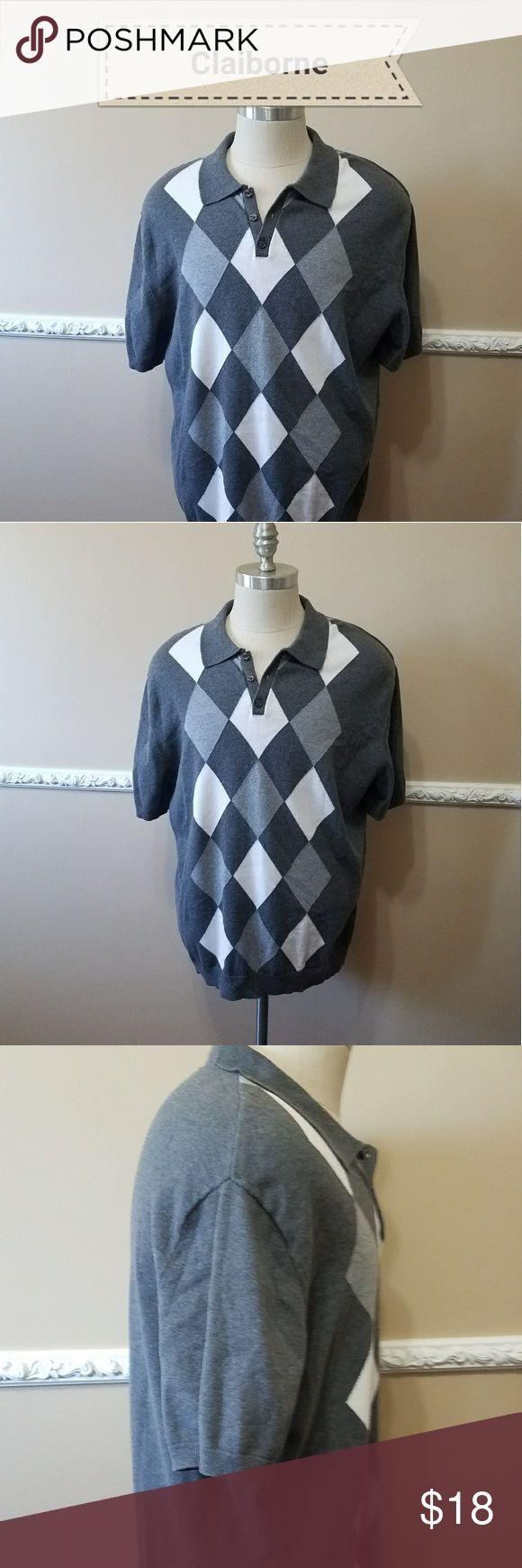 "Men's Claiborne Argyle Pullover XXL Very stylish short sleeve pullover sweater. 100% cotton.  Approx flat lay measurements  Chest      24""    (Armpit - Armpit) Length    30.5"" Claiborne Shirts Polos"