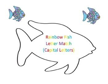 Letter match, capital letters A and B, preview using the Rainbow Fish theme.