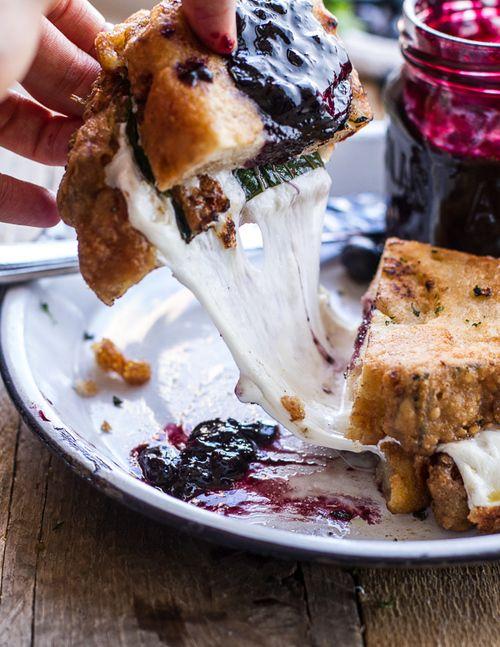 Fried Mozzarella Sandwich w/Blueberry Balsamic Jam | Half ...