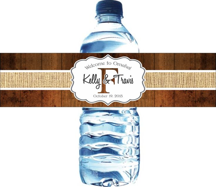 With a burlap-print stripe and woodgrain background, these personalized water bottle labels are perfect for a rustic country barn wedding.