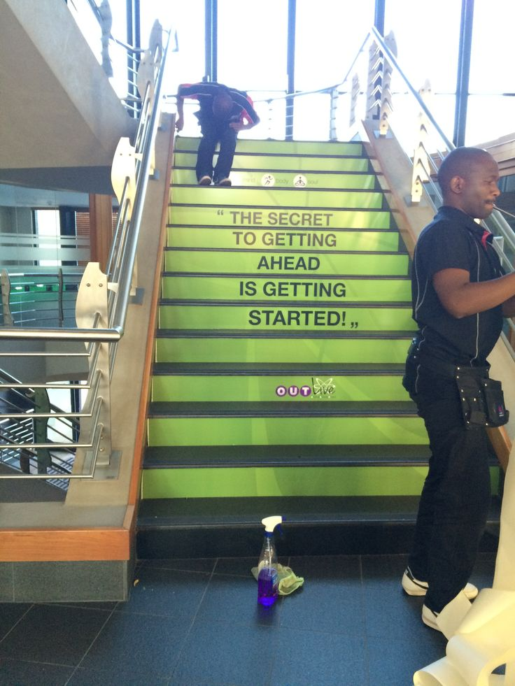 Branding on the steps for Outsurance