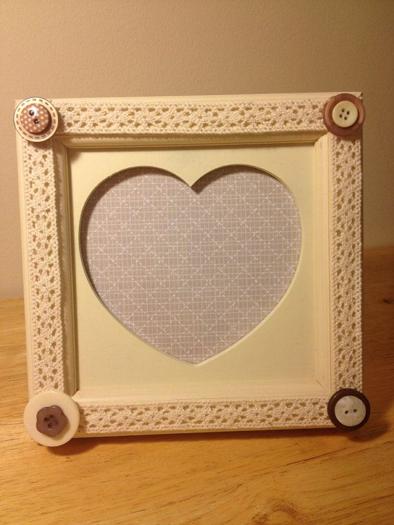 Lace and button heart photo frame on Etsy, £5.00