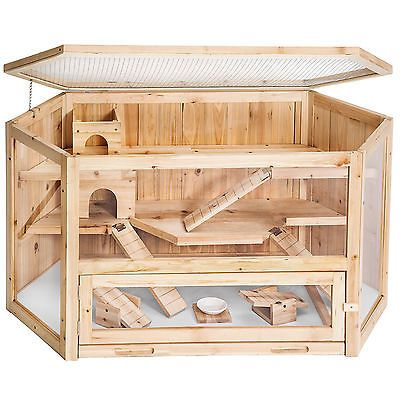 XXL large wooden hamster rodent cage villa hut mouse ferret pet small animal kit
