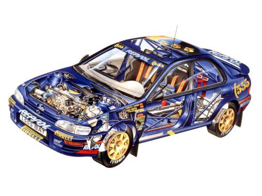 Subaru Impreza rally car - cutaway