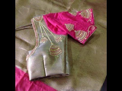 Jhumka Work Blouse Designs in Aari work   Maggam Work   Tambour Work   Kasab Work - YouTube