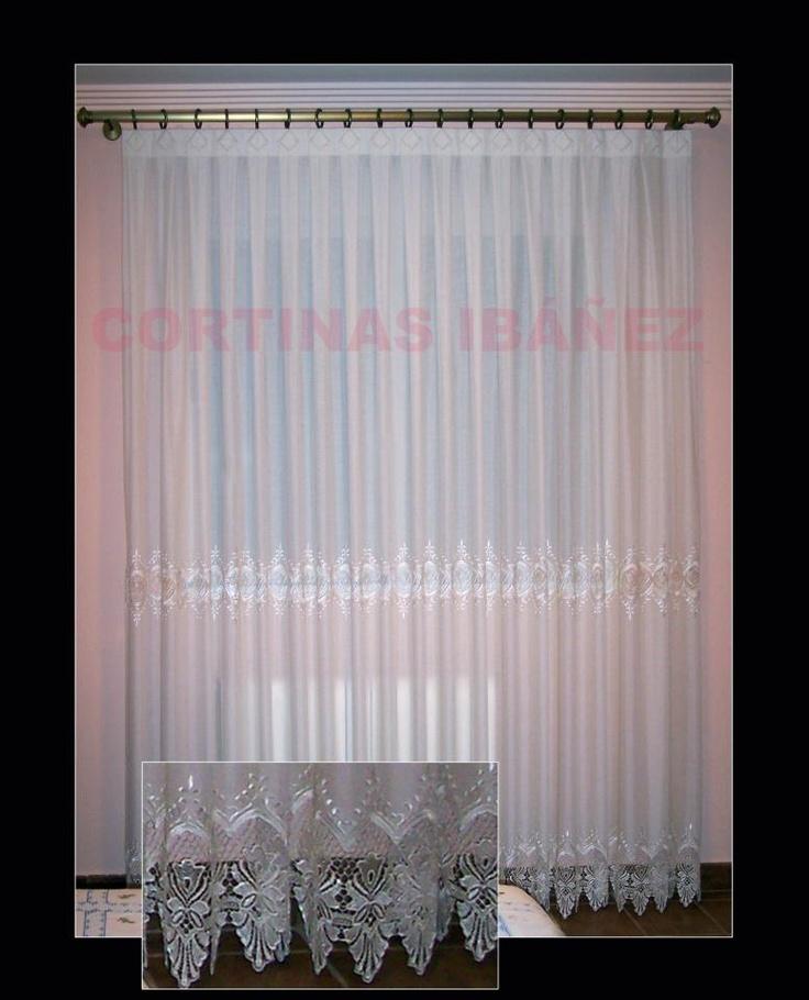 Cortina en visillo con entred s y puntillas de guipur - Puntillas para cortinas ...