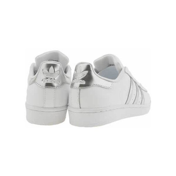 Womens White & Silver Adidas Superstar Trainers | schuh (115 CAD) ❤ liked on Polyvore featuring shoes, sneakers, clothes - shoes, white sneakers, silver trainers, silver sneakers, silver shoes and adidas footwear