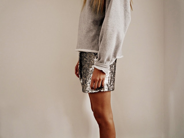 sequin skirts work great even with comfy sweaters!