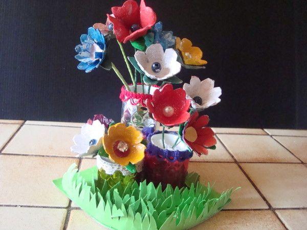 bricolage fleurs boite d'oeufs