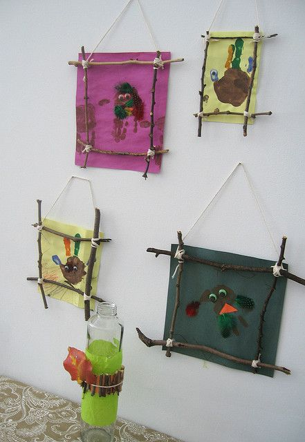 "Stick frames & handprint birds by forty-two roads ("",)"