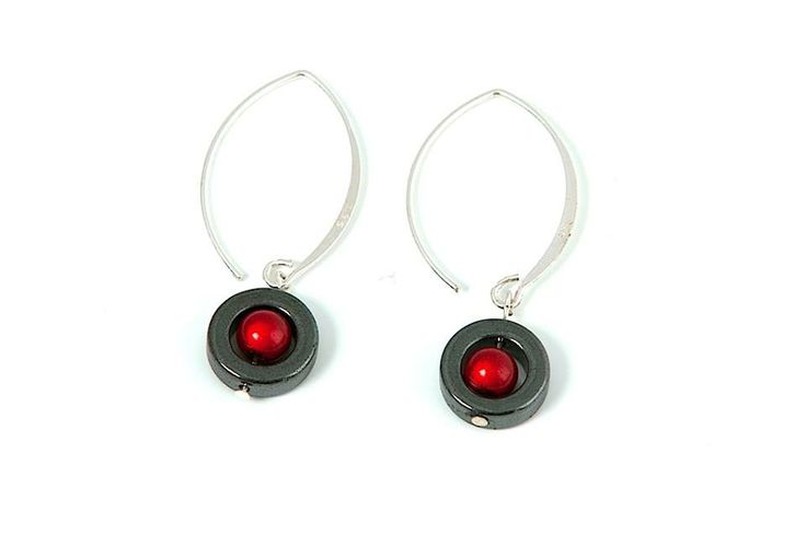 Shiny red beads, hematite, and silver come together for this striking pair of earrings.
