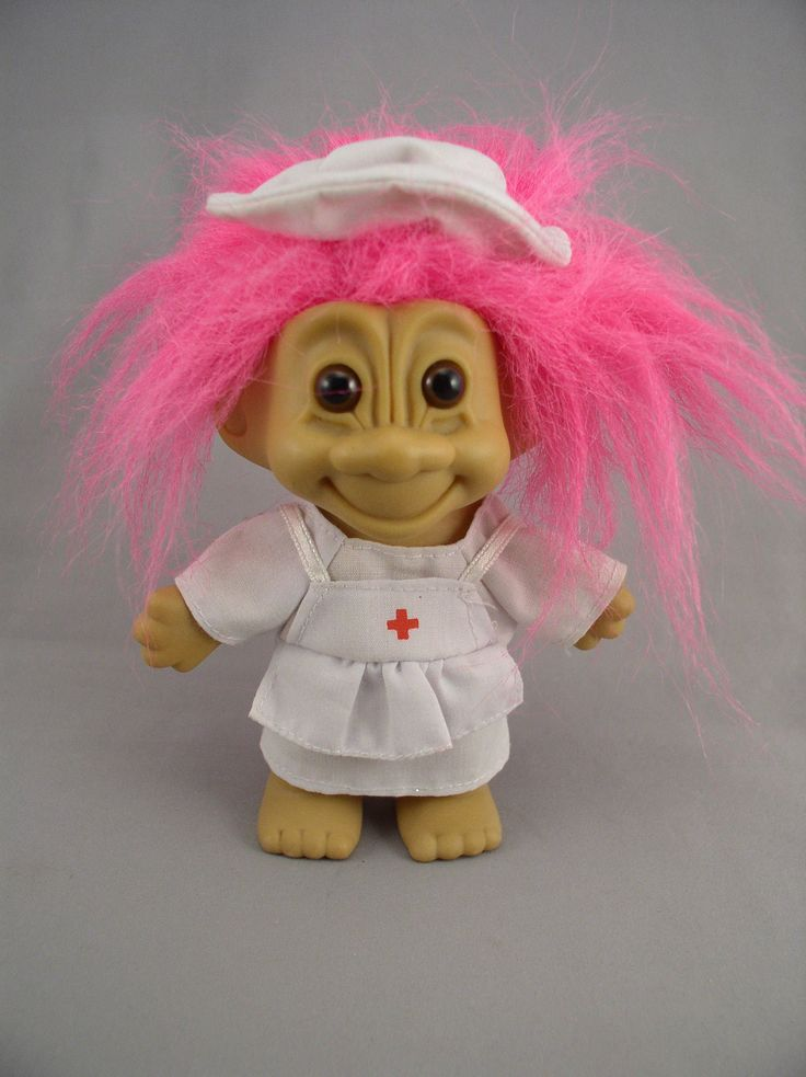 """Nurse Troll in Uniform - Russ Circa 1990s, 5"""" Pink Hair - Vintage Toy by SMNtoys on Etsy"""