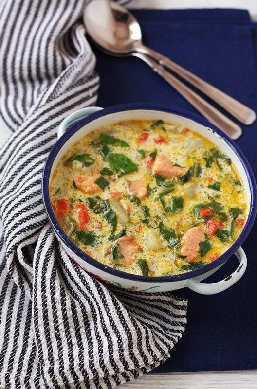 Сырный суп с форелью и шпинатом 33/50