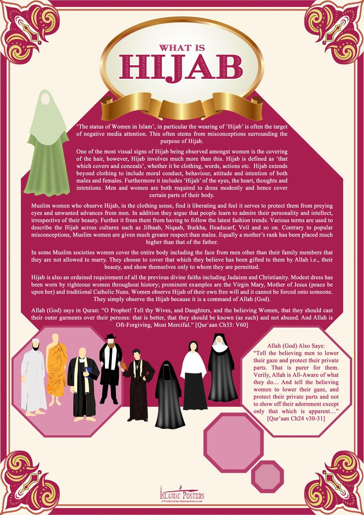 """Islam - Hijab is a veil that covers the head and chest, which is particularly worn by a Muslim woman beyond the age of puberty in the presence of adult males outside of their immediate family. It can further refer to any head, face, or body covering worn by Muslim women that conforms to a certain standard of modesty. Al-hijab refers to """"the veil which separates man or the world from God""""."""