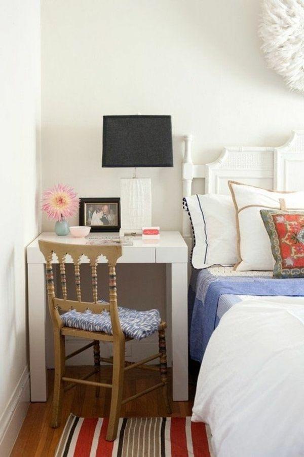 kleines schlafzimmer einrichtungstipps nachttisch schreiibtisch