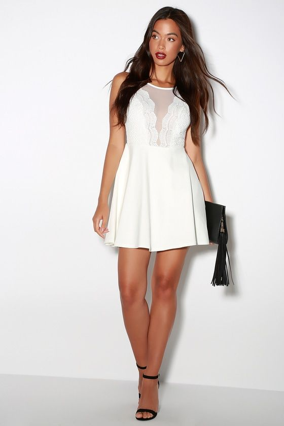 dedc8be3b276 The I Promise White Lace Skater Dress will never let you down! A sheer mesh