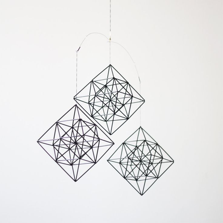 himmeli diamonds - set of 3 - hanging mobile - modern mobile - sculpture - geometric - black - finnish design - home decor. $147.00, via Etsy.