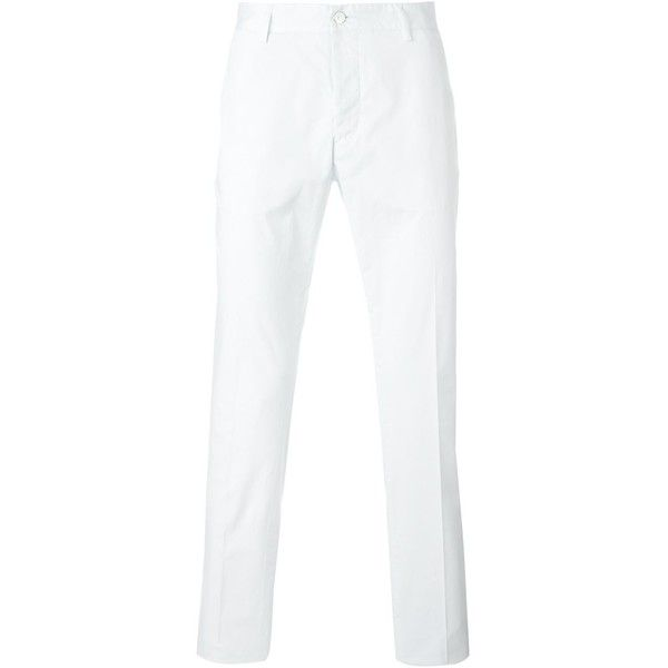 Hydrogen chino trousers (1.187.455 IDR) ❤ liked on Polyvore featuring men's fashion, men's clothing, men's pants, men's casual pants, white, mens chino pants, mens chinos pants, mens white pants and mens white chino pants