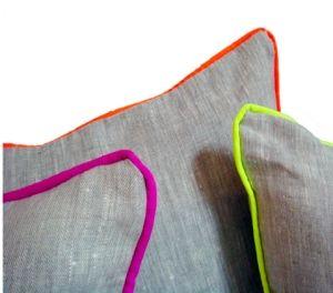 fluor: Decor, Ideas, Neon Piping, Color, Neon Trim, Cushions, Diy, Design, Pillows