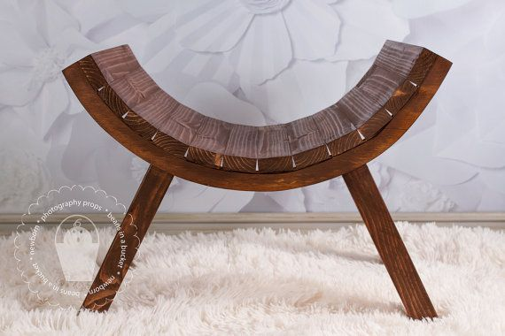 Newborn Wood Curved Posing Stool Bench Slatted By