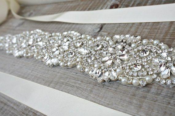 Bridal sash, bridal belt, sash belt, rhinestone sash, pearl crystal sash…