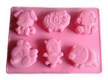 6 cavités ferme réunion animaux gâteau en Silicone moule de cuisson Cake Pan Muffin coupes main savon moules Biscuit chocolat Ice Cube(China (Mainland))