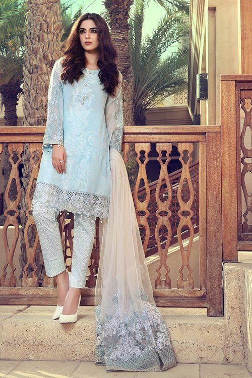 Maria B. 3 Piece Stitched Lawn - D-1709-B - Blue - Libasco.com    #mariab #mariabdresses #mariabcollection #mariab2017 #mariablawn #mariabsuits