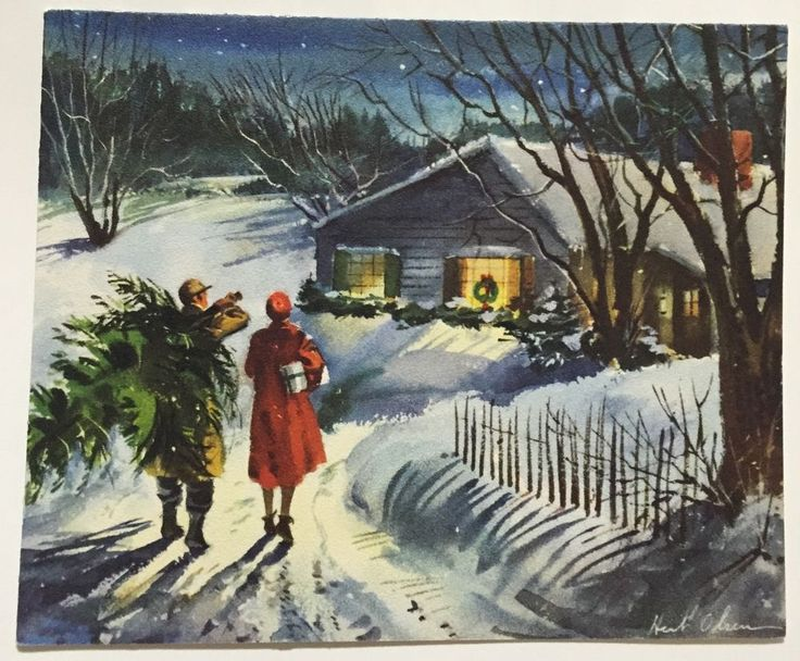 Vintage Hallmark Greeting Card Happy Couple Bringing Tree Home Evening Walk