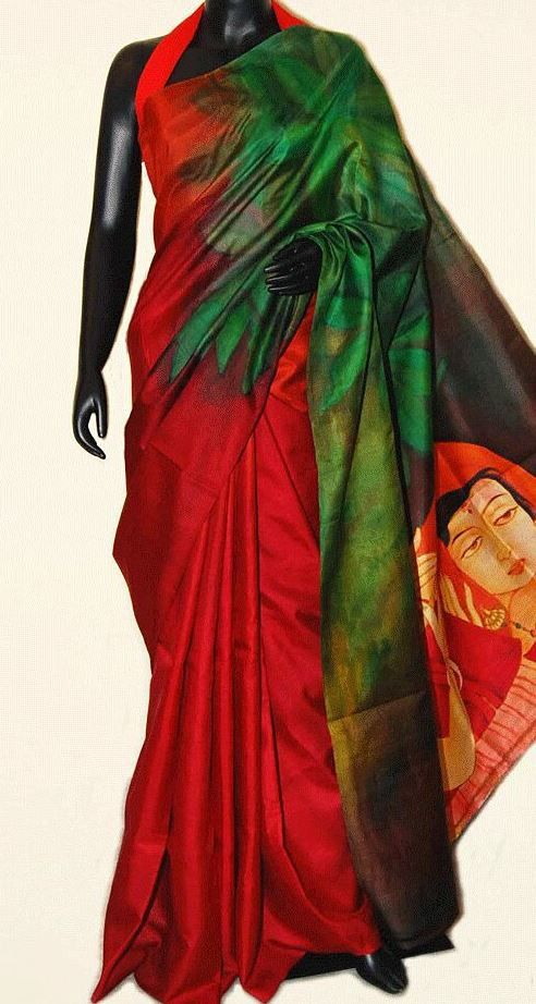 Double Coloured Bishnupuri Silk saree