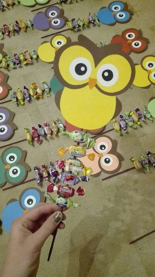 Owl candy kebabs