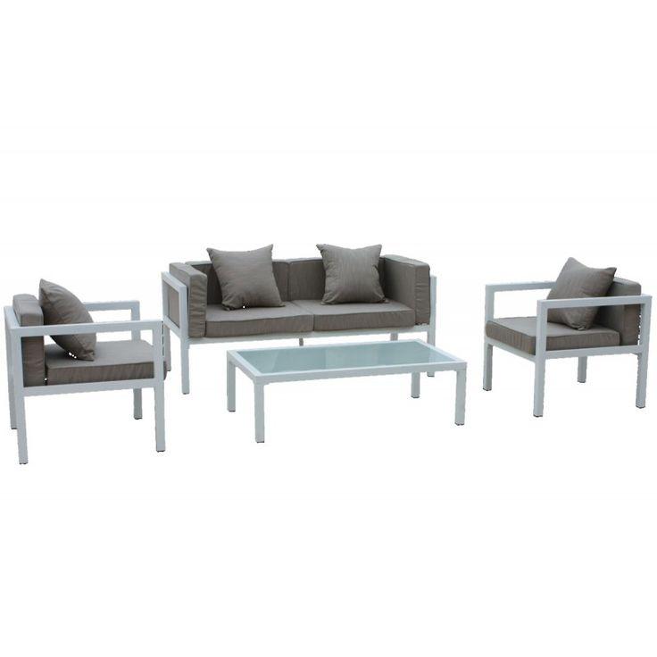 Matiz set garden seating group 4 pcs aluminum white pillow beige E6787.2