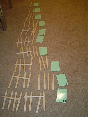 To do this activity you need: exactly 55 tally sticks (wooden craft sticks) and basic number cards 1 through 10. The child is to lay out the tally sticks to represent the numbers on the cards. If laid out correctly, the child will use all the tally sticks.