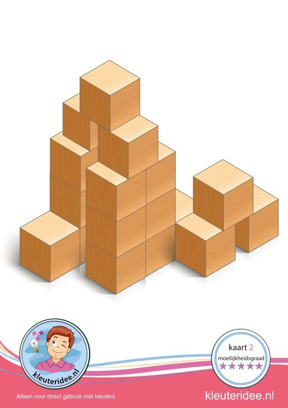 Bouwkaart 2 moeilijkheidsgraad 5 voor kleuters, kleuteridee, Preschool card building blocks with toddlers 10, difficulty 5, free printable.