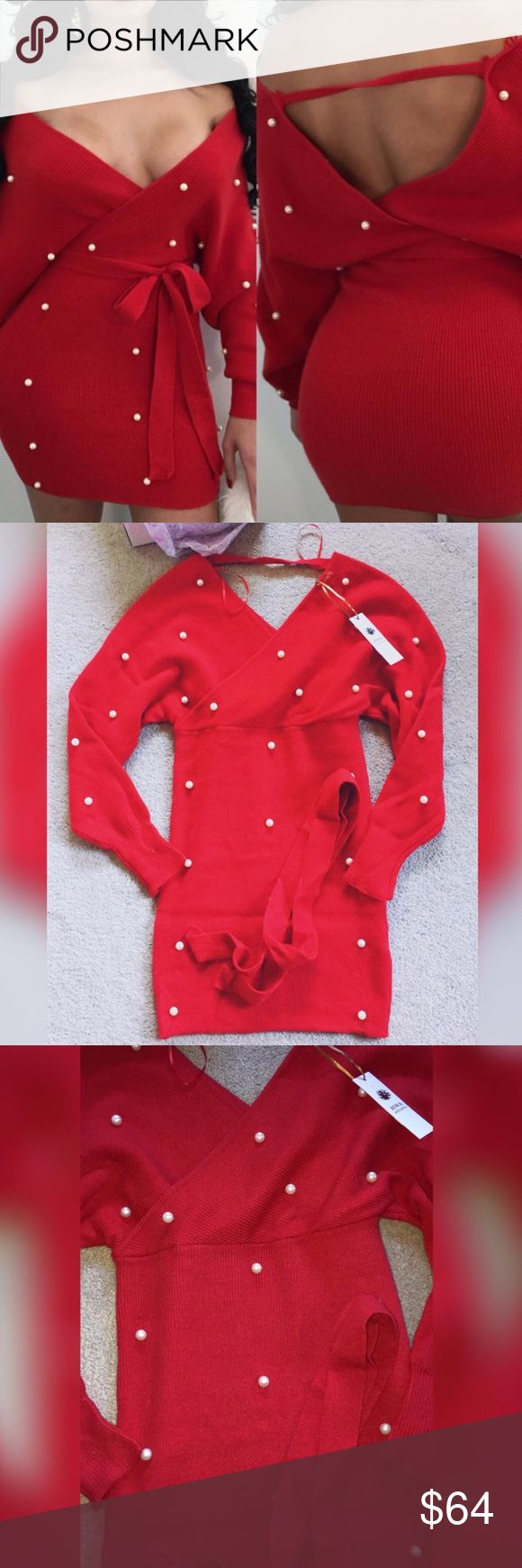 • Boutique Red Pearl Sweater Mini Dress ♡ NWT!  ♡ From an online Boutique! ♡ Material: 70% Cotton, 30% Rayon!   💲 Prices are FIRM here on Posh! All offers will kindly be declined!   🗣 Ask all questions below! 🚫 NO trades/🅿️🅿️/drama/lowest/offers/holds/emails! 🏷 Similar Tags: Nasty Gal, Missguided, House Of CB, Fashion Nova, Windsor, Hot Miami Styles, Valentine's Day, Express, AKIRA, AMI Clubwear, Meshki, ASOS, Urban Outfitters.   XO - AW - ☠️ Dresses Long Sleeve
