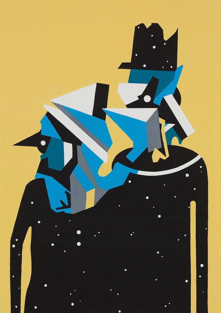 """Tobias Kroeger, """"Time Travelers"""" Acrylic on Paper, 2016, 20cx30cm - Cubist, Contemporary, Art, Painting, Geometric, Portrait"""