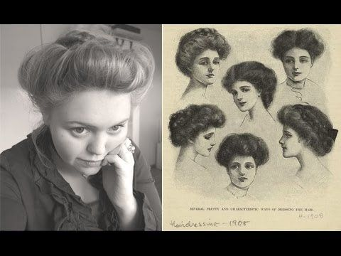 ▶ Edwardian era (ca. 1900) hair updo - YouTube I don't care for the rainbow hair color, but she has a few good pointers