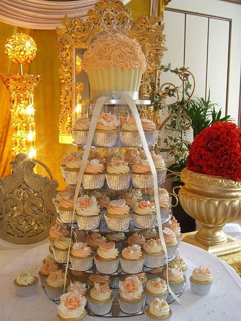cupcake tower ivory and peach   Peach & Ivory Giant Cupcake Tower with Vintage Roses, Diamante Brooch ...