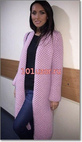 Пальто прямого покроя просто - Пальто спицами для женщин - Вязание для женщин - Схемы вязания крючком и спицами - Вязание